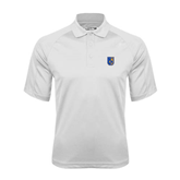 City College of Technology  White Textured Saddle Shoulder Polo-CUNY Shield