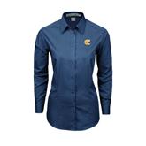 City College of Technology  Ladies Deep Blue Tonal Pattern Long Sleeve Shirt-Official Logo
