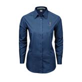 City College of Technology  Ladies Deep Blue Tonal Pattern Long Sleeve Shirt-CUNY Shield