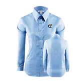 City College of Technology  Ladies Red House Light Blue Long Sleeve Shirt-Official Logo