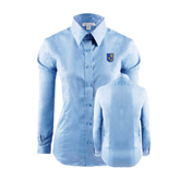 City College of Technology  Ladies Red House Light Blue Long Sleeve Shirt-CUNY Shield