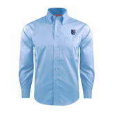 City College of Technology  Red House Light Blue Dobby Long Sleeve Shirt-CUNY Shield