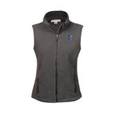 Ladies Fleece Full Zip Charcoal Vest-CUNY Shield