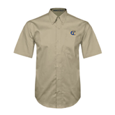 City College of Technology  Khaki Twill Button Down Short Sleeve-Official Logo