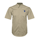 City College of Technology  Khaki Twill Button Down Short Sleeve-CUNY Shield