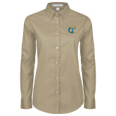 City College of Technology  Ladies Khaki Twill Button Down Long Sleeve-Official Logo
