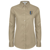 City College of Technology  Ladies Khaki Twill Button Down Long Sleeve-CUNY Shield
