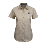 City College of Technology  Ladies Khaki Twill Button Up Short Sleeve-Official Logo