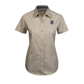 City College of Technology  Ladies Khaki Twill Button Up Short Sleeve-CUNY Shield