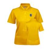 City College of Technology  Ladies Gold Dry Mesh Polo-CUNY Shield