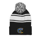 City College of Technology  Black/White Two Tone Knit Pom Beanie w/Cuff-Official Logo
