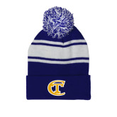 City College of Technology  Royal/White Two Tone Knit Pom Beanie w/Cuff-Official Logo