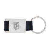 Leather Black Key Holder-CUNY Shield Engraved