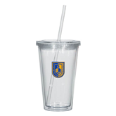 City College of Technology  Madison Double Wall Clear Tumbler w/Straw 16oz-CUNY Shield