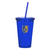 Madison Double Wall Blue Tumbler w/Straw 16oz-CUNY Shield