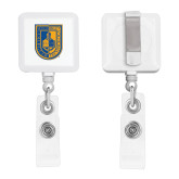 City College of Technology  White Square Retractable Badge Holder-CUNY Shield