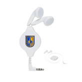 City College of Technology  White Retractable Ear Buds-CUNY Shield