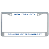 Metal License Plate Frame in Chrome-New York City