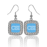 College of Staton Island Crystal Studded Square Pendant Silver Dangle Earrings-CSI