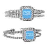College of Staton Island Crystal Studded Cable Cuff Bracelet With Square Pendant-CSI