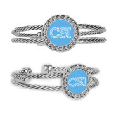 Silver Bangle Bracelet With Round Pendant-CSI