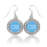 College of Staton Island Crystal Studded Round Pendant Silver Dangle Earrings-CSI