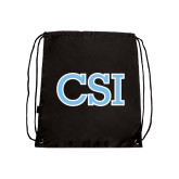 College of Staton Island Black Drawstring Backpack-CSI