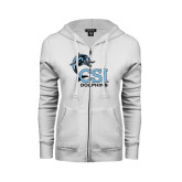 College of Staton Island ENZA Ladies White Fleece Full Zip Hoodie-Official Logo