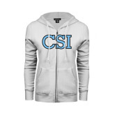 College of Staton Island ENZA Ladies White Fleece Full Zip Hoodie-CSI