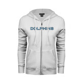 College of Staton Island ENZA Ladies White Fleece Full Zip Hoodie-Dolphins