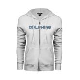ENZA Ladies White Fleece Full Zip Hoodie-Dolphins