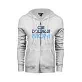 College of Staton Island ENZA Ladies White Fleece Full Zip Hoodie-Mom