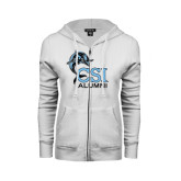 College of Staton Island ENZA Ladies White Fleece Full Zip Hoodie-Alumni