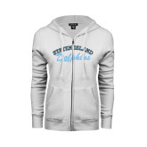College of Staton Island ENZA Ladies White Fleece Full Zip Hoodie-Staten Island Dolphins