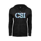 College of Staton Island ENZA Ladies Black Fleece Full Zip Hoodie-CSI