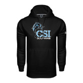 College of Staton Island Under Armour Black Performance Sweats Team Hoodie-Official Logo