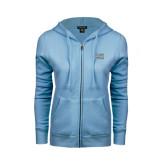 ENZA Ladies Light Blue Fleece Full Zip Hoodie-CSI