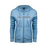 ENZA Ladies Light Blue Fleece Full Zip Hoodie-Dolphins