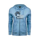ENZA Ladies Light Blue Fleece Full Zip Hoodie-Baseball