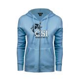 ENZA Ladies Light Blue Fleece Full Zip Hoodie-Basketball