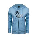 ENZA Ladies Light Blue Fleece Full Zip Hoodie-Cross Country