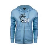 ENZA Ladies Light Blue Fleece Full Zip Hoodie-Softball