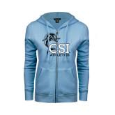 ENZA Ladies Light Blue Fleece Full Zip Hoodie-Athletics