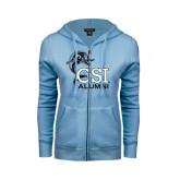 ENZA Ladies Light Blue Fleece Full Zip Hoodie-Alumni