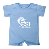 College of Staton Island Light Blue Infant Romper-Official Logo