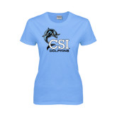 College of Staton Island Ladies Sky Blue T Shirt-Official Logo
