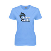 Ladies Sky Blue T-Shirt-Cheerleading