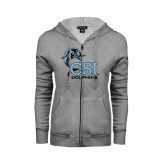 College of Staton Island ENZA Ladies Grey Fleece Full Zip Hoodie-Official Logo