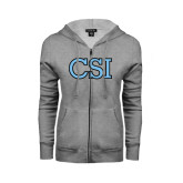 College of Staton Island ENZA Ladies Grey Fleece Full Zip Hoodie-CSI