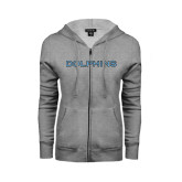 College of Staton Island ENZA Ladies Grey Fleece Full Zip Hoodie-Dolphins